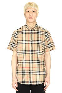 Short sleeves cotton shirt, Checked Shirts Burberry man