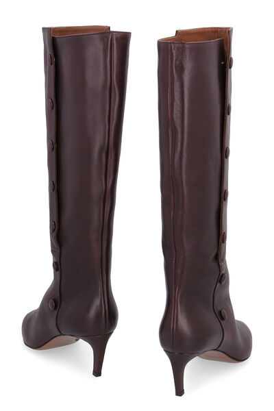 Thigh-length leather hose boots