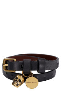 Leather bracelet with medallion and skull, Jewelry Alexander McQueen man