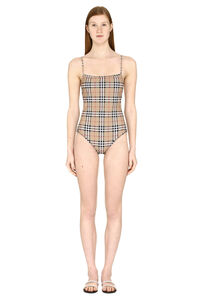 Vintage check motif one-piece swimsuit, One-Piece Burberry woman