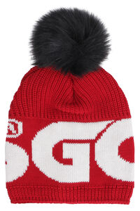 Knitted wool beanie with pom pon, Hats GCDS woman