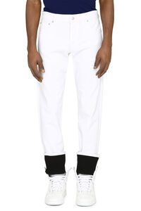 Contrast turn-up straight-leg jeans, Straight jeans Alexander McQueen man