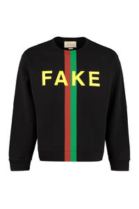 Fake-Not print cotton sweatshirt, Sweatshirts Gucci man