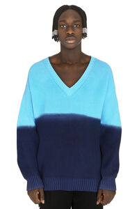 Gradient effect sweater, V-necks MSGM man