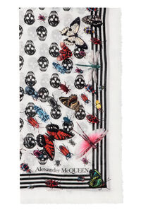 Frayed edges printed shawl, Scarves Alexander McQueen woman