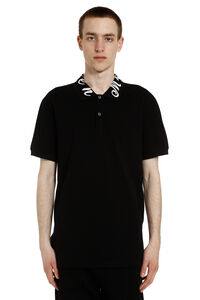Embroidered cotton-piqué polo shirt, Short sleeve polo shirts Alexander McQueen man