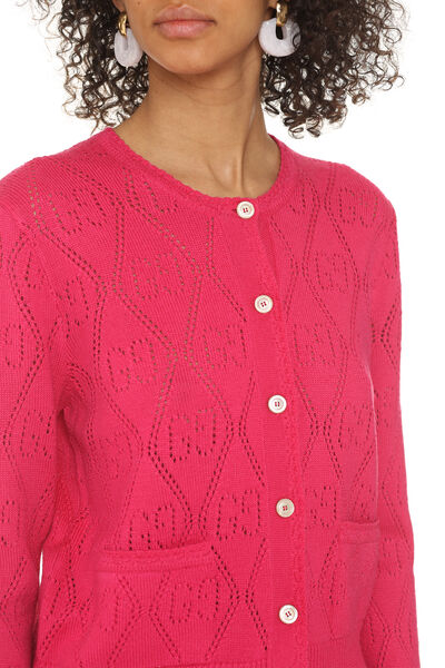 Open-work cardigan with GG pattern