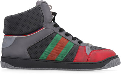 Screener high-top leather sneakers