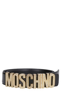 Logo buckle leather belt, Belts Moschino woman
