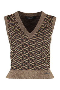 Knitted vest, V neck sweaters Versace woman