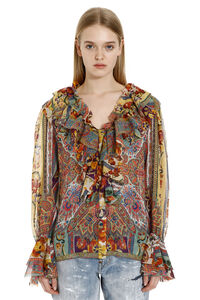 Frill-neck printed silk blouse, Blouses Etro woman