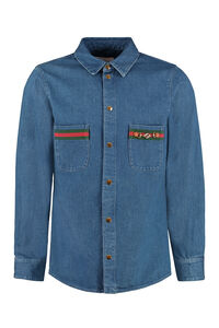 Stone washed denim shirt, Denim Shirts Gucci man