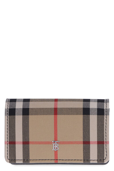 Vintage check fabric card holder
