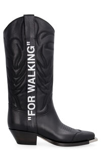 Metal plaque leather Cowboy boots, Knee-high Boots Off-White woman