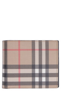 Checked print fabric flap-over wallet, Wallets Burberry man