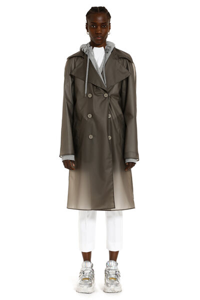 Trench coat with inner fleece layer