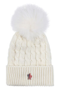 Knitted wool hat with fox fur pom-pom, Hats Moncler Grenoble woman