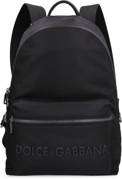 Nylon backpack with logo