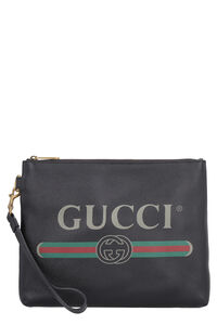 Grainy leather pouch, Poches Gucci man