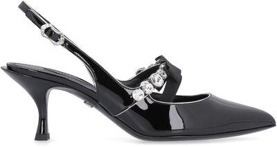 Patent leather pointy-toe slingback