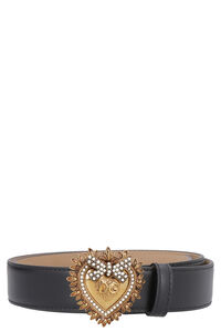 Devotion leather belt with embellished buckle, Belts Dolce & Gabbana woman