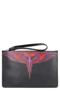 Printed leather flat pouch, Poches Marcelo Burlon County of Milan man