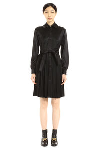 Pleated satin shirtdress, Knee Lenght Dresses Burberry woman