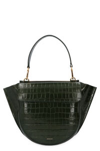Hortensia croco print leather handbag, Top handle Wandler woman