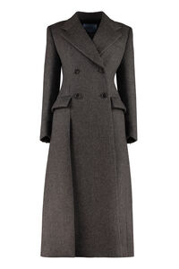 Double-breasted wool coat, Double Breasted Prada woman