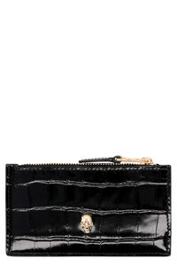 Croco-print leather card holder, Wallets Alexander McQueen woman
