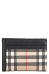 Leather and check fabric card holder, Wallets Burberry man
