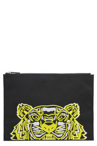 Tiger embroidered nylon pouch-bag, Clutch Kenzo woman