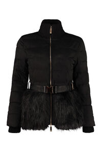 Full zip padded jacket with belt, Down Jackets Elisabetta Franchi woman