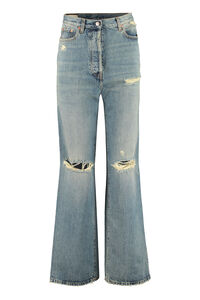 Destroyed effect jeans, Flared Jeans Gucci woman