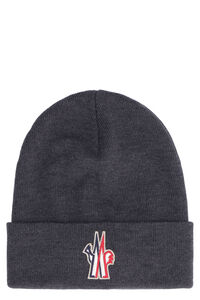 Wool hat with embroidered patch, Hats Moncler Grenoble man