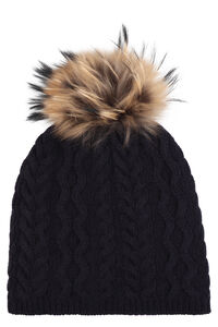 Olimpo pom-pon detail cable knit beanie, Hats Weekend Max Mara woman