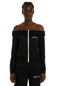 Off-shoulder full-zip sweatshirt, Zip-up sweatshirts Palm Angels woman