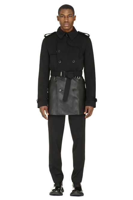 Double-breasted wool and leather coat, Overcoats Alexander McQueen man