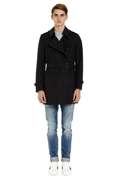 Short cotton trench coat