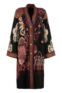 Jacquard knit coat, Knee Lenght Coats Etro woman