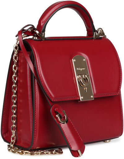 Carmine leather mini crossbody bag