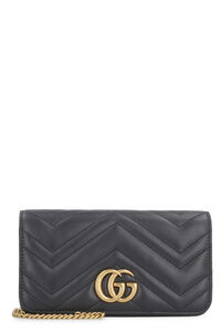 Marmont quilted leather wallet on chain, Clutch Gucci woman