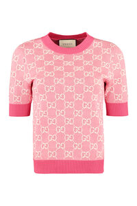 Jacquard knit top, Crew neck sweaters Gucci woman