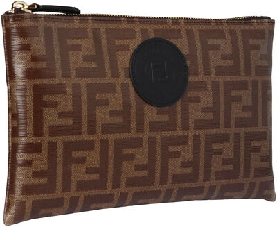 Coated canvas flat pouch