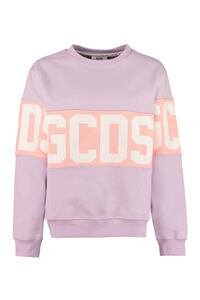 Logo detail cotton sweatshirt, Sweatshirts GCDS woman