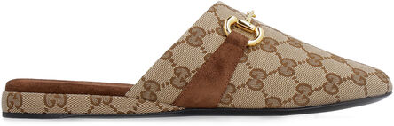 Leather and GG supreme fabric slippers, Slippers Gucci woman