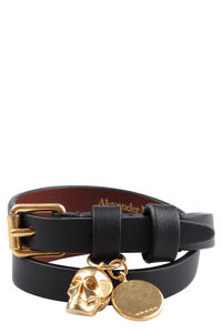 Leather bracelet with medallion and skull, Bracelets Alexander McQueen woman