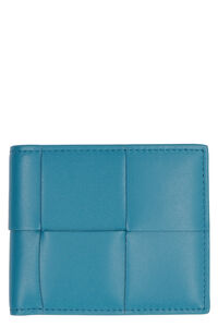 Leather flap-over wallet, Wallets Bottega Veneta man