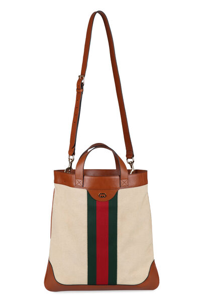 Smooth leather and canvas tote bag