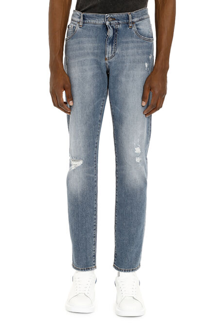 5 pockets jeans with worn details, Slim jeans Dolce & Gabbana man